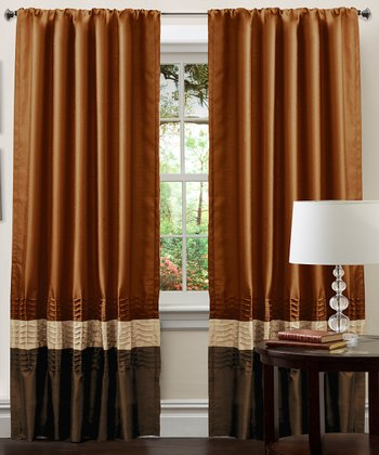 Brown & Rust Mia Curtain Panel - Set of Two