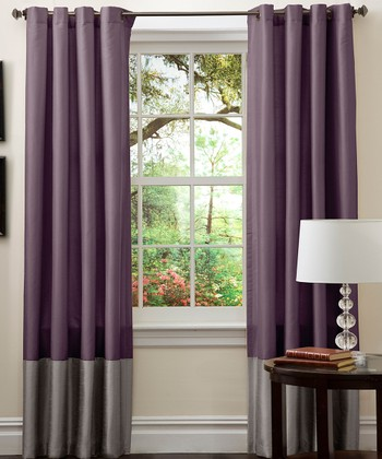 Gray & Purple Prima Curtain Panel - Set of Two