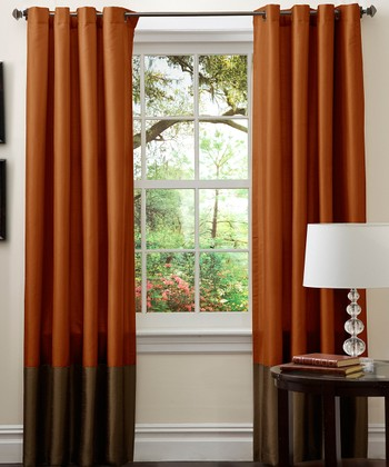 Brown & Rust Prima Curtain Panel - Set of Two