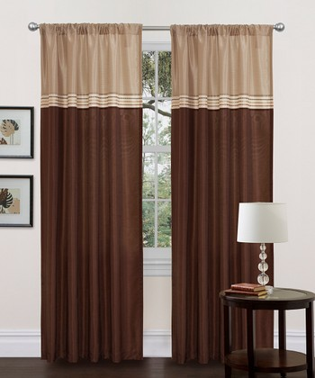 Beige & Brown Terra Curtain Panel - Set of Two