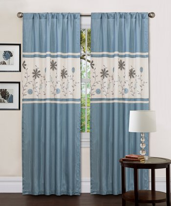 Blue Monica Floral Curtain Panel