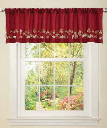 Red Flower Drop Valance