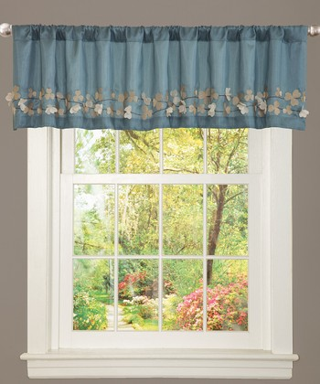Blue Flower Drop Valance
