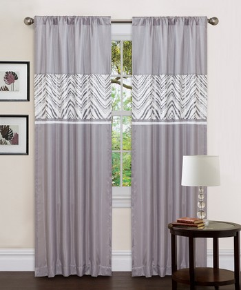 Gray & White Evening Grace Curtain Panel - Set of Two