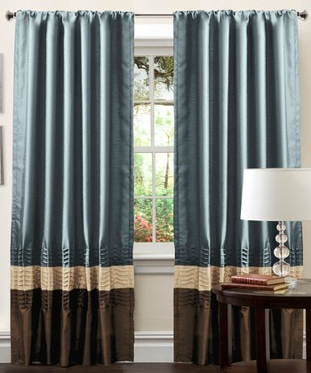 Federal Blue Mia Curtain Panel - Set of Two