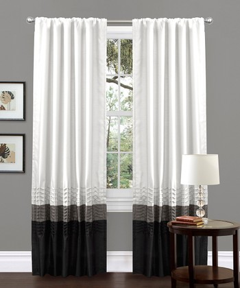 White Mia Curtain Panel - Set of Two