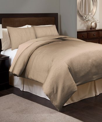 Taupe Channel Comforter Set