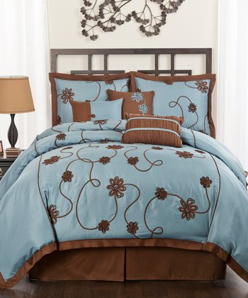Blue Flourish Garden Comforter Set