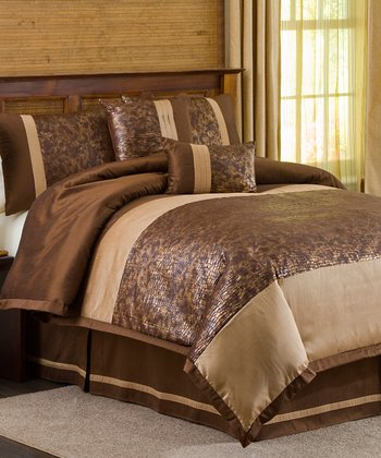 Brown & Gold Metallic Animal Comforter Set