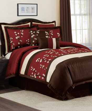 Red Cocoa Flower Comforter Set