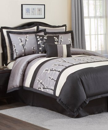 Black & Silver Cocoa Flower Comforter Set