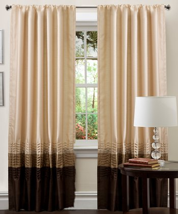 Taupe & Chocolate Mia Curtain Panel - Set of Two