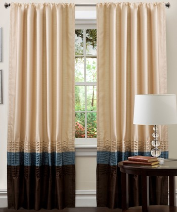 Blue & Chocolate Mia Curtain Panel - Set of Two