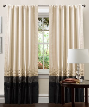 Silver & Black Mia Curtain Panel - Set of Two