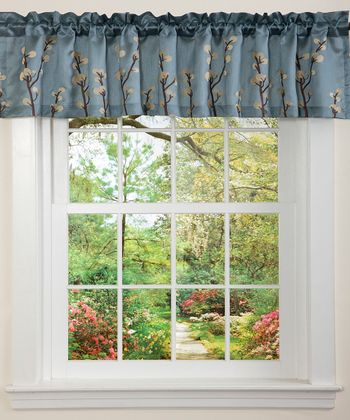Blue & Brown Cocoa Flower Valance