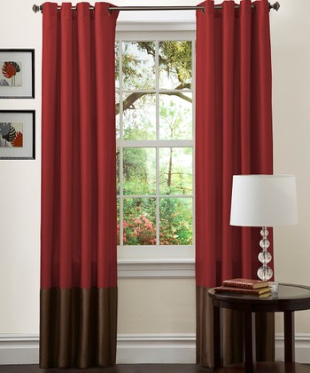 Red & Chocolate Prima Curtain Panel - Set of Two