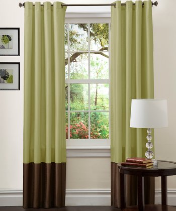 Green & Chocolate Prima Curtain Panel - Set of Two