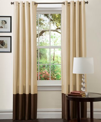 Taupe & Chocolate Prima Curtain Panel - Set of Two