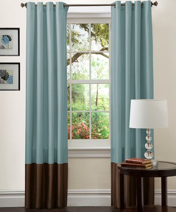 Sea Green & Chocolate Prima Curtain Panel - Set of Two