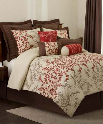 Wheat Brown & Red Hester Comforter Set