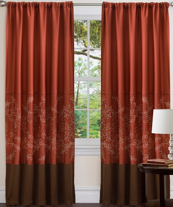 Wheat Brown & Red Hester Curtain Panel