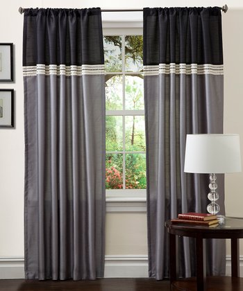 Black & Silver Terra Curtain Panel - Set of Two