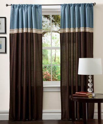 Blue & Chocolate Terra Curtain Panel - Set of Two