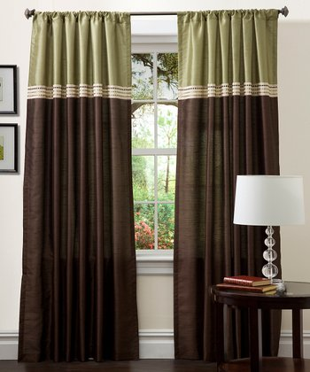 Green & Chocolate Terra Curtain Panel - Set of Two
