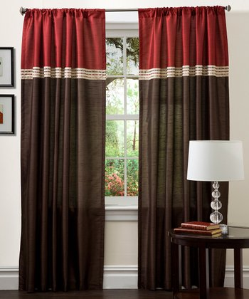 Merlot & Chocolate Terra Curtain Panel - Set of Two