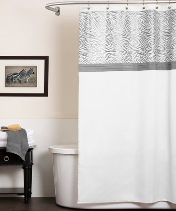 White Serengeti Shower Curtain