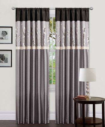 Gray & Black Cocoa Blossom Curtain Panel - Set of Two