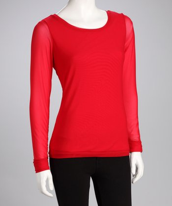 Lipstick Red Crew Neck Top