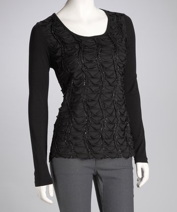 Black Scallop Scoop-Neck Top
