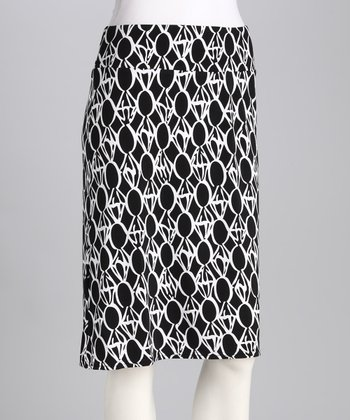 Jet Black Geometric Pull-On Skirt