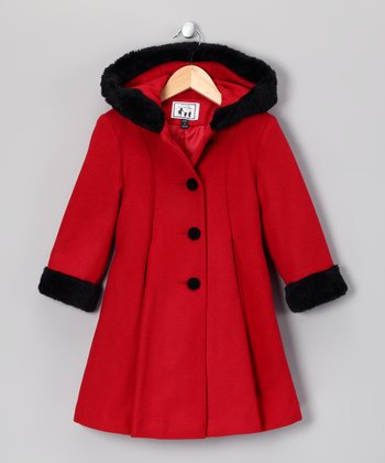 Red & Black Wool-Blend Swing Coat - Infant & Girls