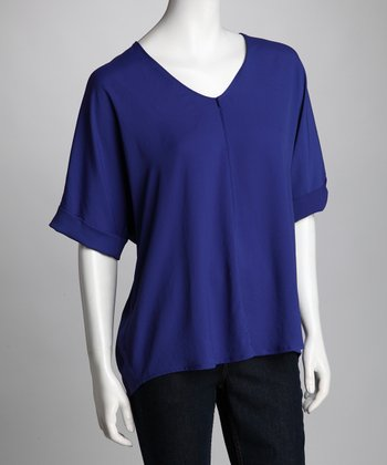 Trinity- Royal Blue Shirttail Top