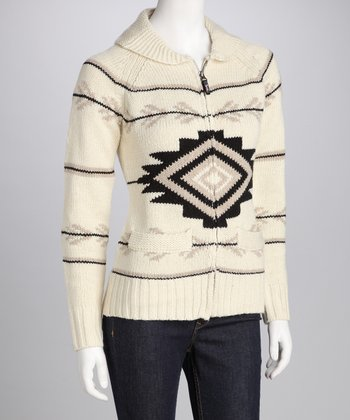 Triple Five Cream Zip-Up Sweater