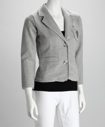 Heather Gray Fleece Blazer