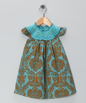 Blue & Gold Beaded Yoke Dress - Infant & Toddler