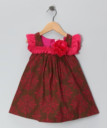 Brown & Pink Royal Swing Dress - Toddler