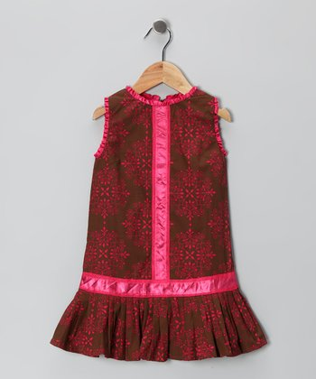 Brown & Pink Pleated Drop-Waist Dress - Infant