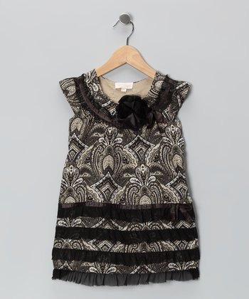 Black & White Damask Ruffle Dress - Toddler