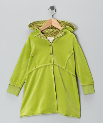 Lime Velour Princess Coat - Toddler & Girls
