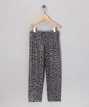 Charcoal Disco Ballerina Leggings - Girls