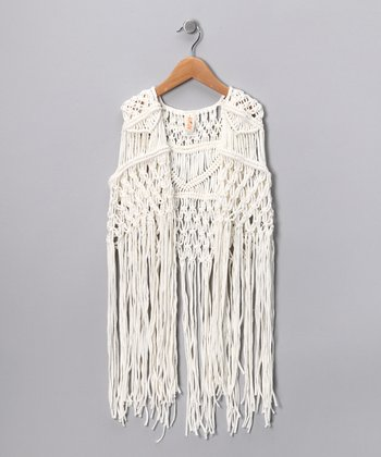 White Fringe Vest - Girls