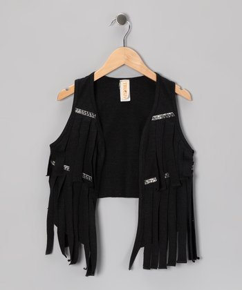Black Fringe Vest - Girls