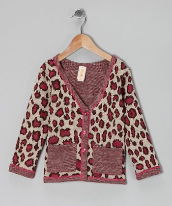 Pink Leopard Shopaholic Cardigan - Girls