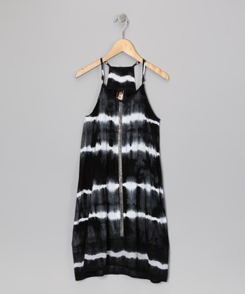 Black Tie-Dye Dress - Girls