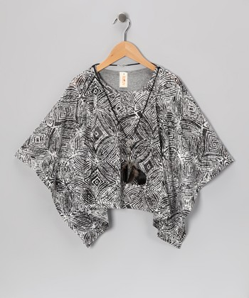 Charcoal Rock Cape-Sleeve Tunic & Necklace - Girls