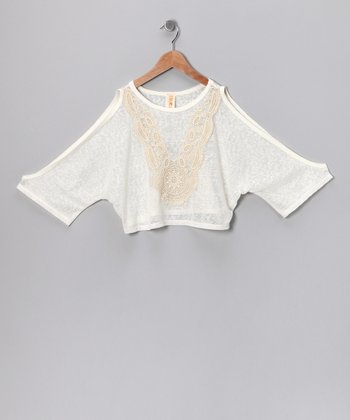 Ivory & Beige Sahara Tunic - Girls